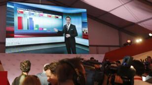نتائج استطلاعات الرأي بعد انتهاء عمليات الاقتراع قي النمسا خلال بث تلفزيوني في 15-10-2017