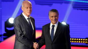 المرشحان للانتخابات التونسية نبيل القروي وقيس سعيّد