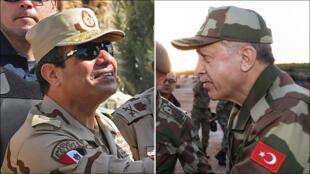 الرئيسان التركي والمصري باللباس العسكري