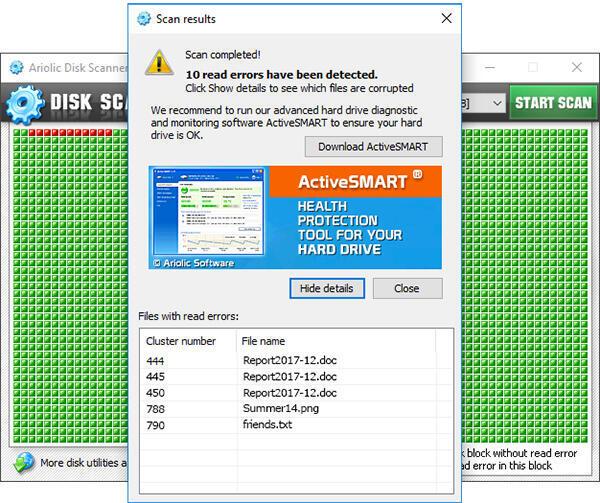 Ariolic Disk Scanner أداة صغيرة مجانية من البرامج الحرة لكشف الأخطاء في القرص الصلب