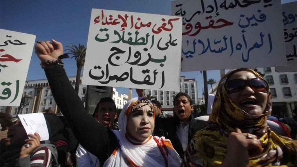 من تظاهرة تطالب بحقوق المرأة وتعترض على زواج القاصرات في شبط 2012 في القاهرة