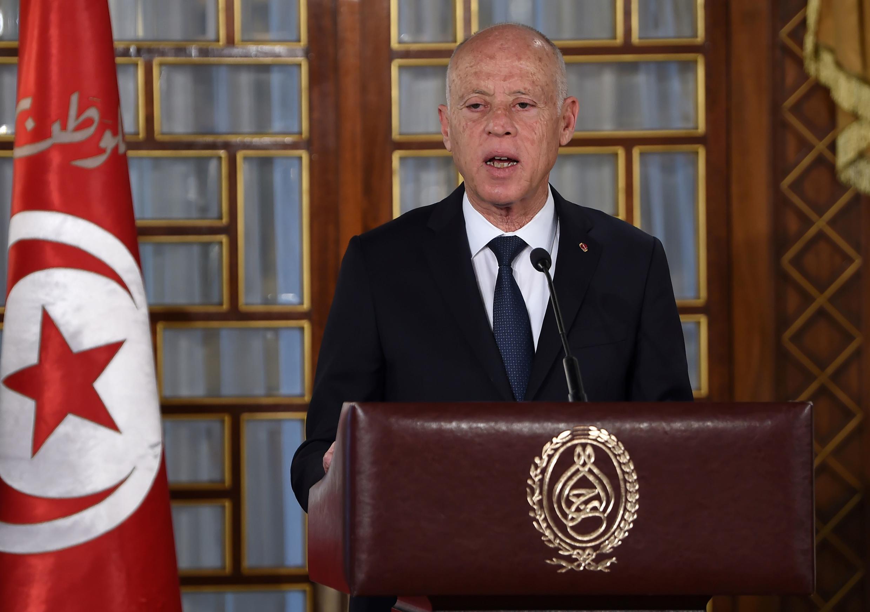 الرئيس التونسي قيس سعيد يلقي كلمة بعد جلسة منح الثقة للحكومة، قصر قرطاج