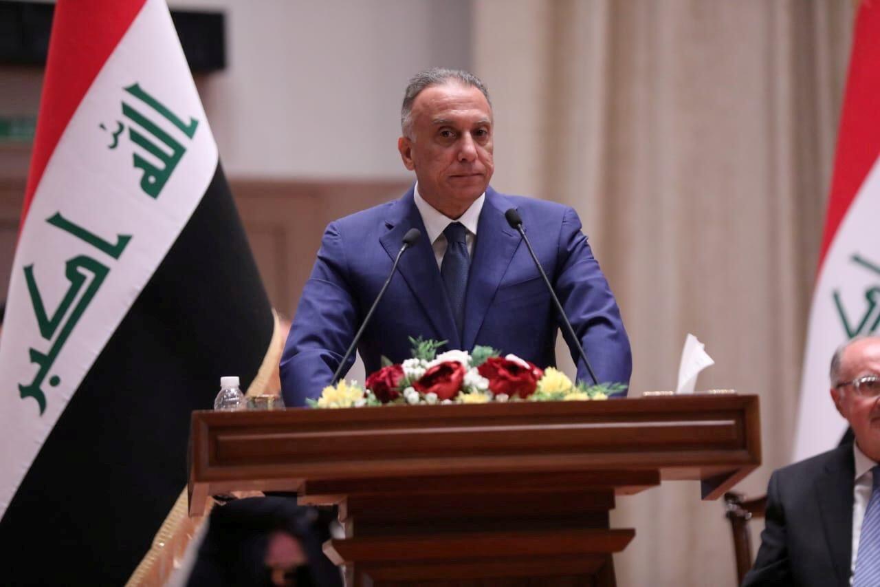 رئيس الوزراء العراقي المكلف مصطفى الكاظمي يدلي بكلمة خلال التصويت على الحكومة الجديدة، من قبل البرلمان