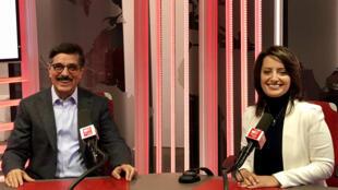 إيمان الحمود رفقة وزير الدولة القطري د.حمد بن عبد العزيز الكواري في استديو مونت كارلو الدولية بباريس