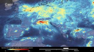 صورة لوكالة الفضاء الأوروبية تظهر انبعاثات ثاني أكسيد النيتروجين عبر أوروبا في فبراير 2020