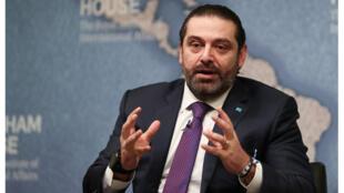رئيس الوزراء إباني سعد الحريري يتحدث خلال مؤتمر في تشاتام هاوس بوسط لندن في 13 ديسمبر 2018
