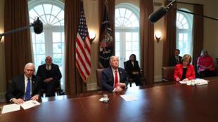 الرئيس الأمريكي دونالد ترامب في البيت الأبيض يوم 18 مارس 2020