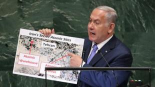 نتنياهو يشير إلى وجود مخابئ سرية لأسلحة نووية في طهران، الأمم المتحدة (27-09-2018)