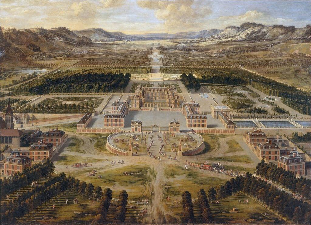 لوحة منظر عام لقصر فرساي الفرنسي من عام 1682 مجهولة المصدر (متحف غيتي)