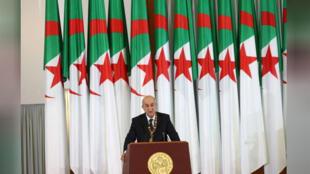 الرئيس الجزائري عبد المجيد تبون يوم 19 ديسمبر كانون الأول 2019. -