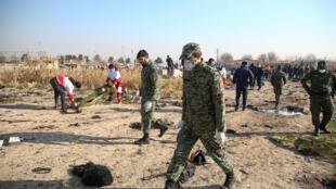 موقع تحطم الطائرة الأوكرانية في إيران