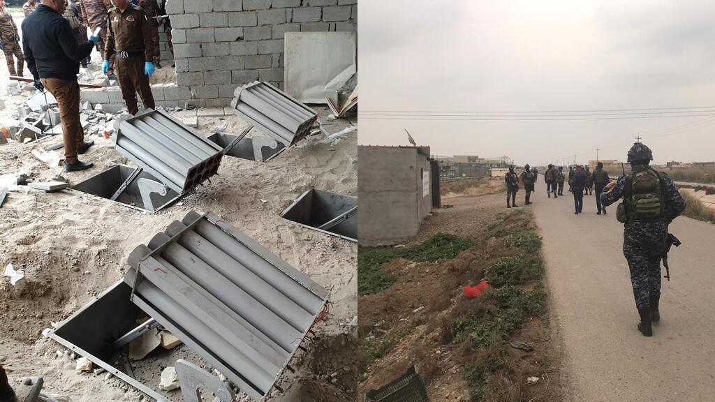 الجيش العراقي قرب المنزل الذي وجد فيه صواريخ كاتيوشا