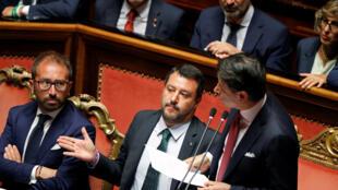 رئيس الوزراء الإيطالي جوزيبي كونتي يخاطب مجلس الشيوخ في البرلمان بشأن الأزمة الحكومية المستمرة في روما
