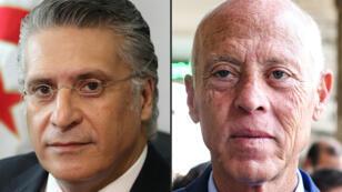 المرشحان للانتخاب الرئاسية في تونس قيس سعيد ونبيل القروي