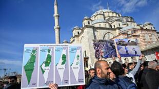 متظاهرون في إسطنبول ضد صفقة القرن يوم 31 يناير 2020