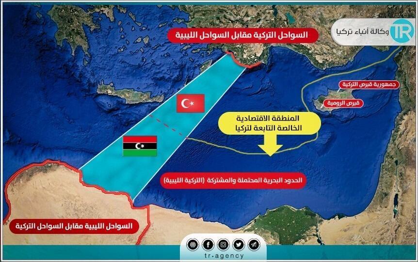 الحدود البحرية في المتوسط وفقا للاتفاق التركي - الليبي