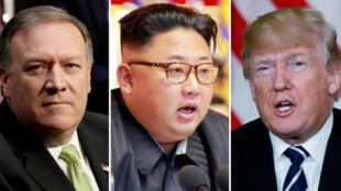 الزعيم الكوري الشمالي كيم جونج أون والرئيس الأمريكي دونالد ترامب ووزير الخارجية مايك بومبيو