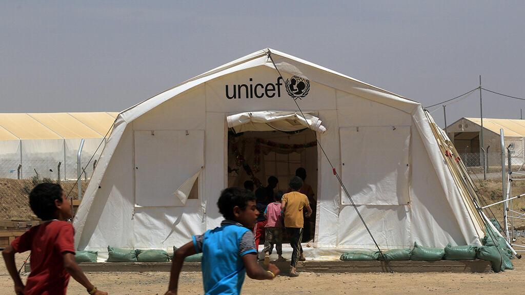مخيم لليونيسف في الموصل بالعراق