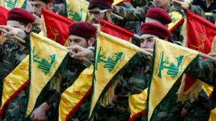"""مقاتلون من """"حزب الله"""" في النبطية 1 آذار/مارس 2016"""