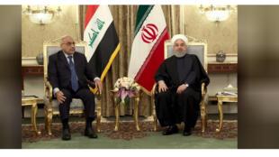 الرئيس الإيراني حسن روحاني ورئيس الوزراء العراقي الزائر عادل عبد المهدي في طهران يوم السبت - صورة لرويترز من الموقع الرسمي للرئيس الإيراني