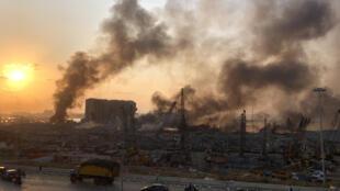 موقع الانفجار في مرفأ بيروت (4 آب/ أغسطس 2020)