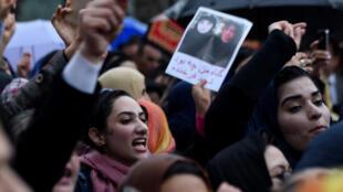 مظاهرة احتجاج بعد اغتيال فرخندة في كابول ، 24 مارس 2015. وكالة فرانس برس