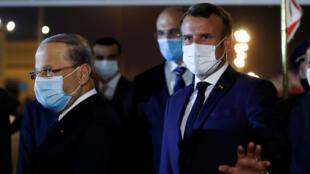الرئيس الفرنسي يستقبله الرئيس اللبناني في مطار بيروت