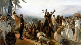 """""""إلغاء الرق في المستعمرات الفرنسية عام 1848""""، لوحة للرسام الفرنسي فرانسوا أوغست بيار من عام 1849"""