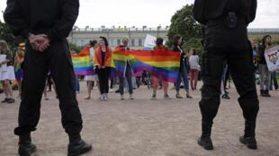 الصورة من وقفة احتجاجية في روسيا-