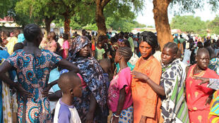 عائلات نازحة من جوبا في جنوب السودان 12 تموز 2016