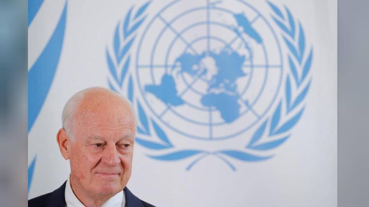مبعوث الأمم المتحدة إلى سوريا ستافان دي ميستورا خلال مؤتمر صحفي في جنيف