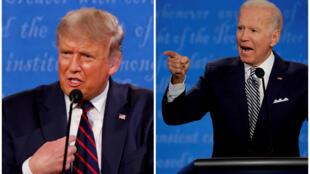 مرشحا الرئاسة الأمريكية جو بايدن والرئيس الأمريكي دونالد ترامب خلال المناظرة الأولى في كليفلاند، أوهايو ( 29 سبتمبر 2020)