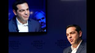 رئيس الوزراء اليونانى أليكسيس تسيبراس  فى منتدى دافوس يوم 24 يناير 2018 (رويترز)