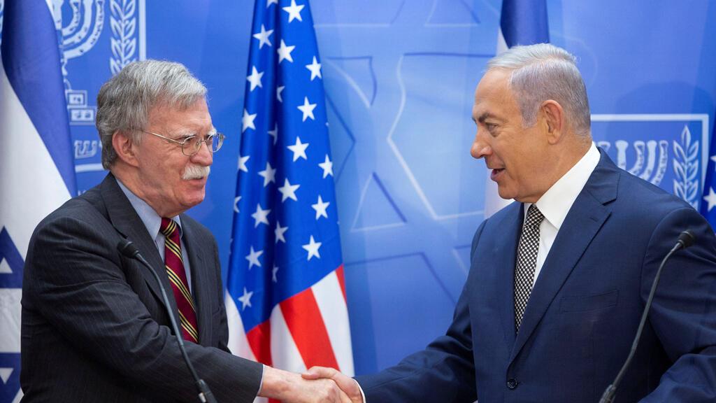 رئيس الوزراء الإسرائيلي بنيامين نتنياهو مع مستشار الأمن القومي الأمريكي جون بولتون