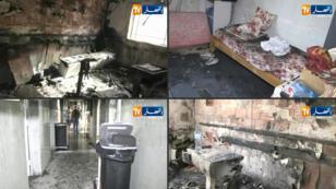 لقطات من قناة النهار الجزائرية يوم 24 سبتمبر 2019 يُظهر الأضرار في مستشفى للولادة في بلدة وادي سوف