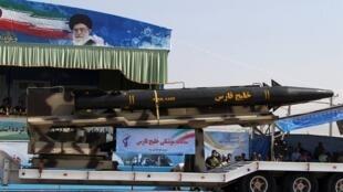 """© صواريخ """"خليج فارس"""" البالستية الإيرانية خلال عرض عسكري في طهران 22 أيلول/سبتمبر 2011"""