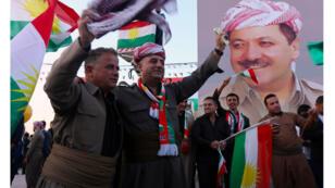 عراقيون أكراد مؤيدون لإجراء الاستفتاء بشأن الاستقلال عن بغداد، أربيل (13-09-2017)
