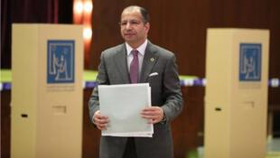 / سليم الجبوري رئيس مجلس النواب العراقي يدلي بصوته في الانتخابات يوم 12 مايو ايار 2018