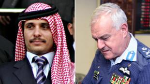 رئيس الأركان الأردني يوسف الحنيطي والأمير حمزة ولي العهد السابق