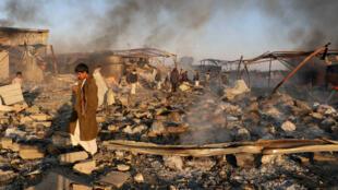 موقع مدمر بفعل الغارات الجوية في صعدة، اليمن (06-01-2018)