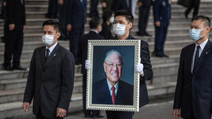 خلال تشييع الرئيس التايواني السابق لي تينج-هوي