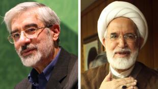 زعيما المعارضة الإيرانية مير حسن موسوي (يسار) ومهدي كروبي (عام 2009)