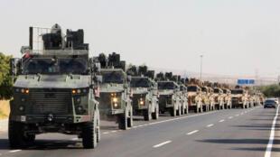القوات التركية على الحدود السورية يوم 9 اكتوبر 2019