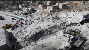 مكان انفجار المستودع والمباني المحاذية له