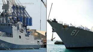 """صور تم التقاطها يوم 1 مارس 2021 تمثل الفرقاطة الروسية """"الأدميرال غريغوروفتش"""" (على اليسار) والمدمرة الأمريكية """"يو اس اس ونستون تشرشل"""" في ميناء بورتسودان السوداني"""