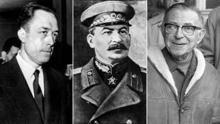 من اليمين إلى اليسار: جان بول سارتر وجوزيف ستالين وألبار كامو