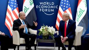 لقاء بين الرئيس دونالد ترامب والرئيس العراقي برهم صالح في منتدى دافوس الاقتصادي يوم 22 يناير 2020