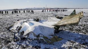 """حطام الطائرة التابعة لشركة """"فلاي دبي"""" التي تحطمت في روسيا عام 2016"""