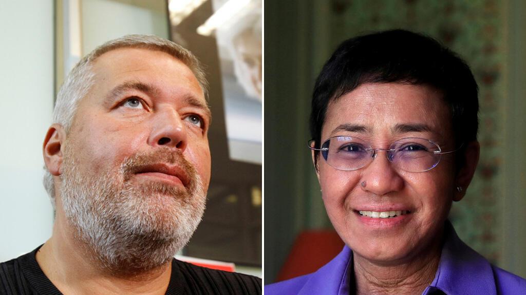 الصحافية الفيليبينية ماريا ريسا والصحافي الروسي دميتري موراتوف